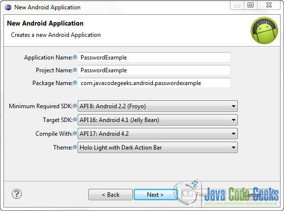 Android Password Field Example