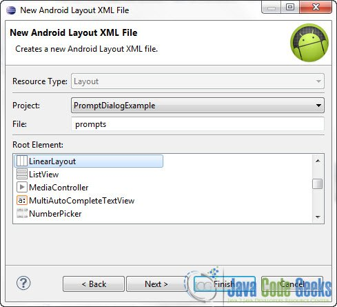 Android Prompt User Input Dialog Example