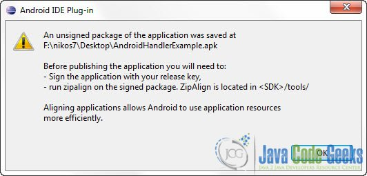 Build Android application package file (APK) using Eclipse