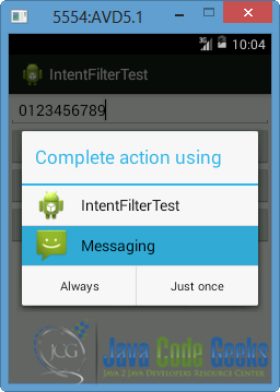 Android Intents and Intent Filters Example   Examples Java