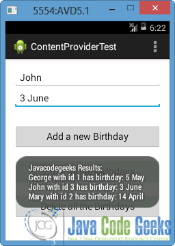 Android Content Provider Example | Examples Java Code Geeks