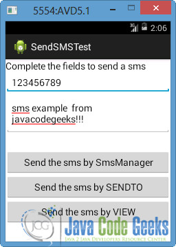 Android Sending SMS Example   Examples Java Code Geeks - 2019