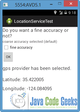 Android Location Based Services Example | Examples Java Code Geeks