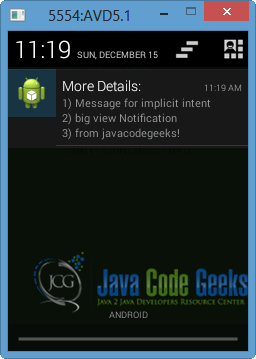 Android Notifications Example | Examples Java Code Geeks - 2019