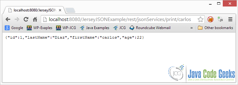 JSON With Jersey and Jackson - browser