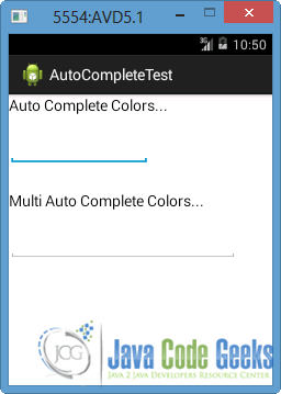 Android Auto Complete Example | Examples Java Code Geeks - 2019