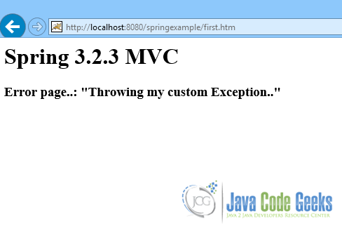 Spring MVC Exception Handling Example | Examples Java Code Geeks - 2019