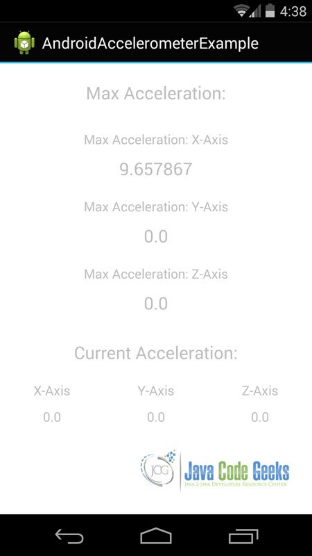 If we keep our mobile device on horizontal position, this is metric that we will see. It is the x acceleration value and it is equal the force of gravity ( about 9.81 m/s2).