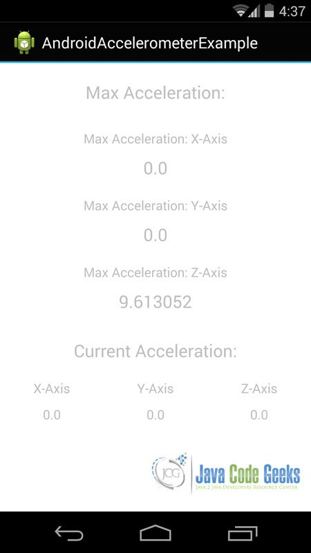 If we lay our mobile device on a table, this is metric that we will see. It is the z acceleration value and it is equal the force of gravity ( about 9.81 m/s2).
