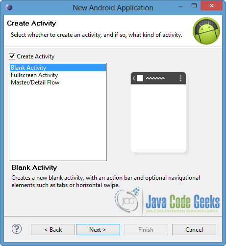 Figure 4. Create the activity and select its type