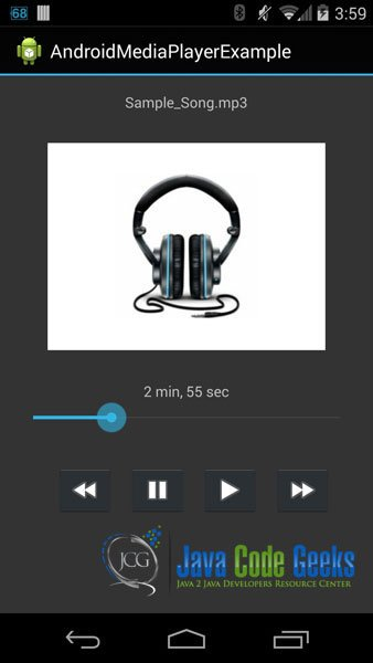 Figure 9: The Android app is loaded and the song is played
