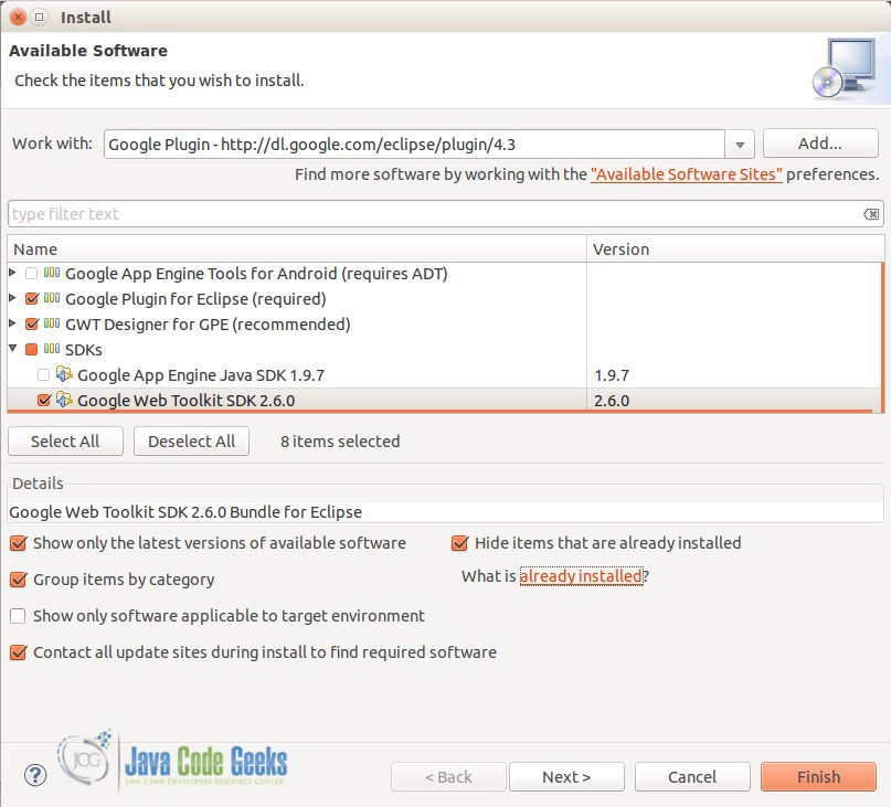 Google Plugin features to install
