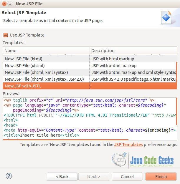 Eclipse JSP Editor Example | Examples Java Code Geeks - 2018