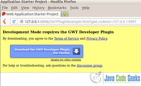 Browser development mode using GWT Developer Plugin