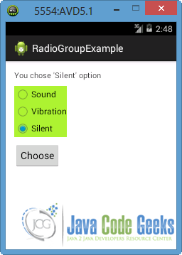 "Figure 9: Press the ""Choose"" button after selecting another radio button"