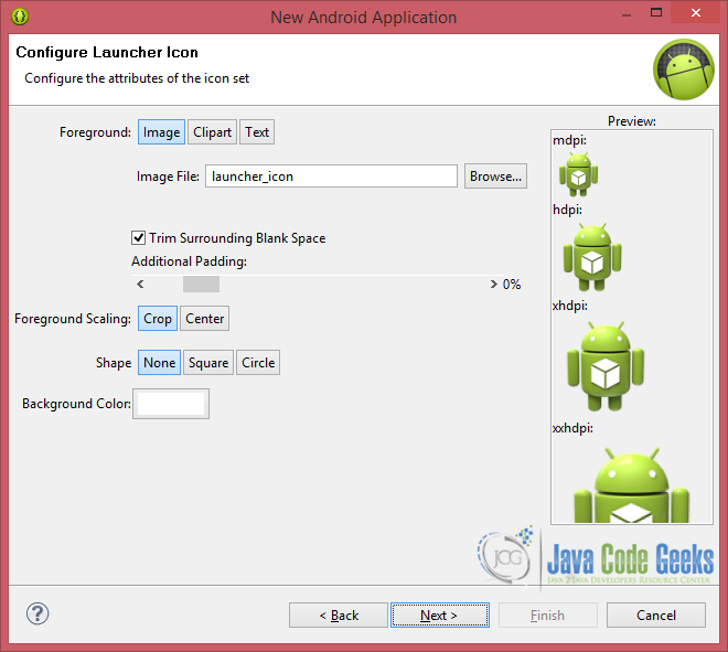 Figure 3. Configure the launcher icon