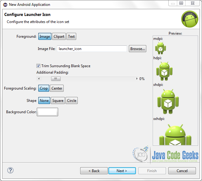 Figure 4. Configure the launcher icon