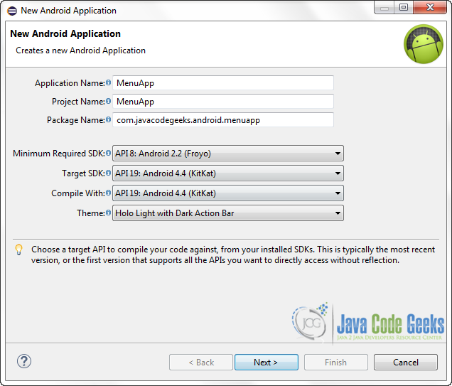 Figure 2. Create a new Android application