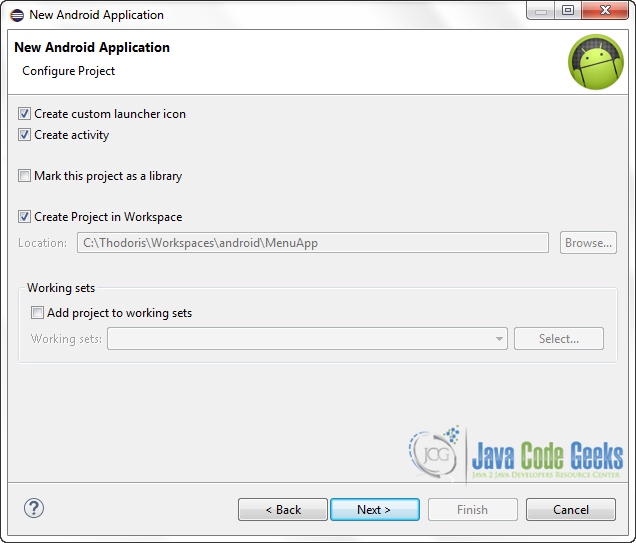 Figure 3. Configure the project