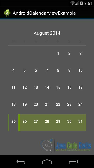 Android Calendarview Example | Examples Java Code Geeks - 2019