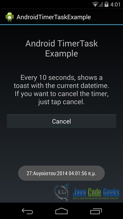 This is the a screenshot that shows the Toast, meaning the timer was scheduled to run the TimerTask every 10000ms.