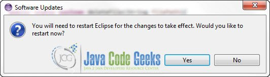 Figure 9 : Restart Eclipse IDE