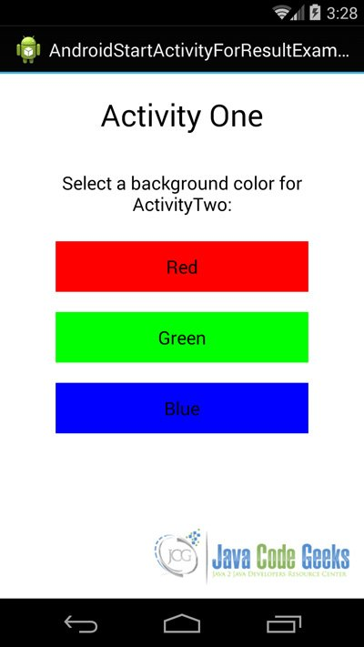 Figure 8. This is the main Activity that launches the app. From here we can chooce the background of the ActivityTwo.