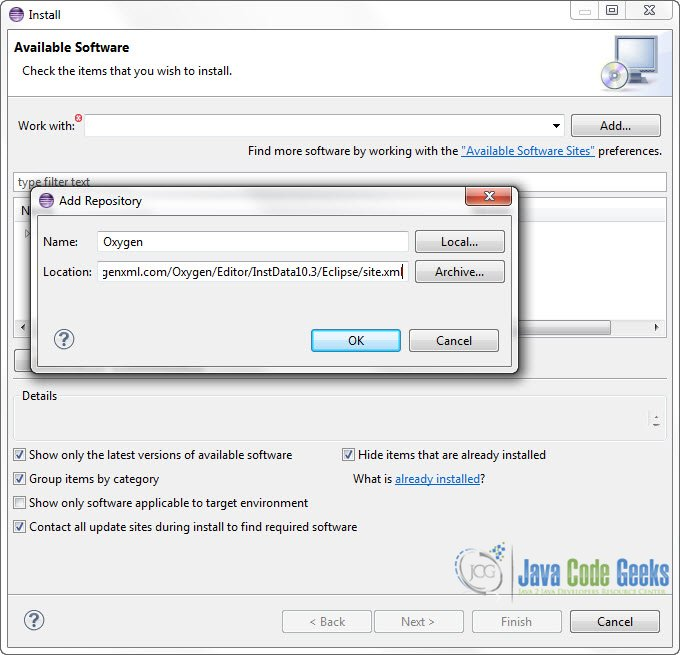 Eclipse oxygen xml editor plugin tutorial examples java code geeks figure 2 add repository ccuart Images