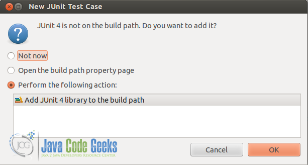 Figure 4: Add JUnit library to the classpath.