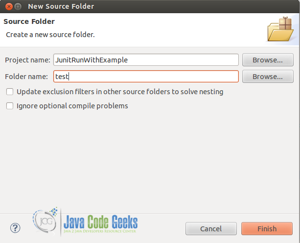 Create new source folder for junit tests.