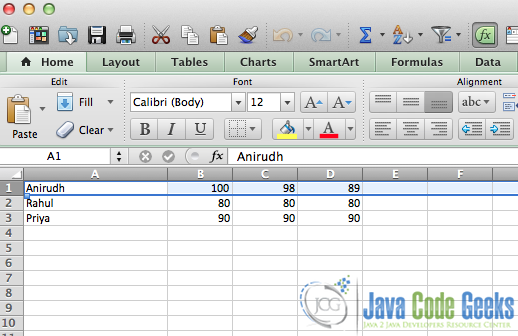 Write/Read Excel files in Java Example | Examples Java Code