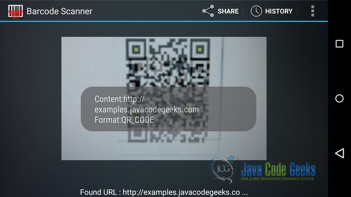 Android Barcode and Qr Scanner Example | Examples Java Code Geeks - 2019