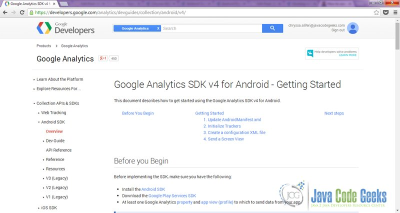 Figure 1. Google Analytics SDK v4 for Android - Getting Started Guide