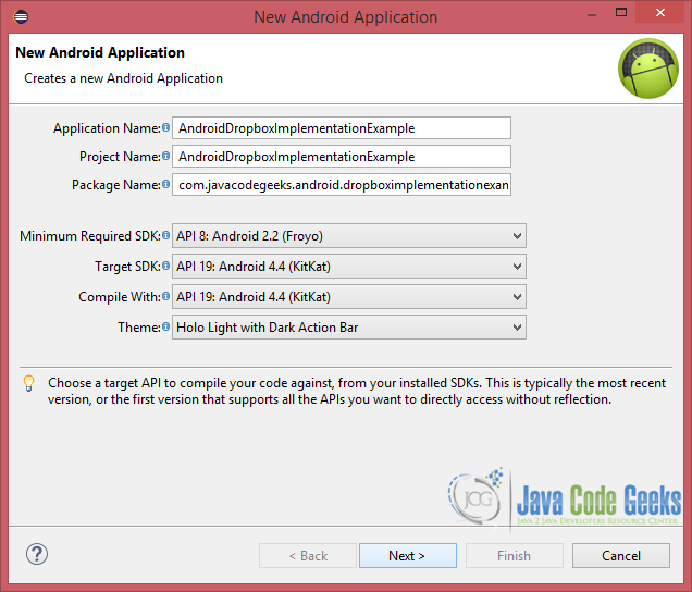 Figure 3. Create a new Android application