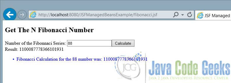 JSF Managed Beans Result