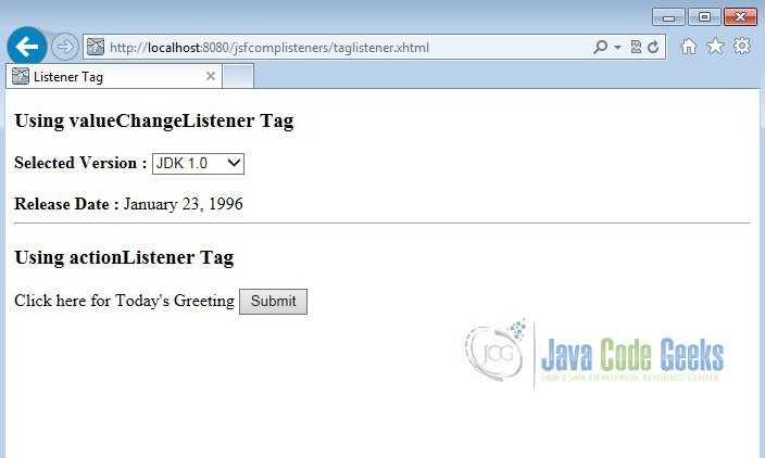 JSF Components Listeners Example | Examples Java Code Geeks