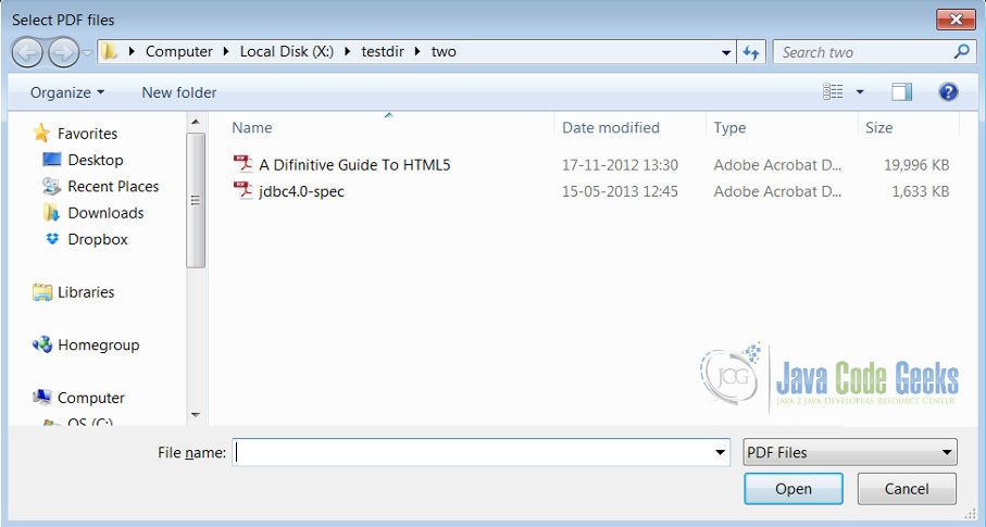 Figure 2 : Multiple File Chooser Dialog