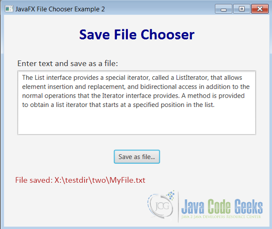 Figure 3 : Save File Chooser Example