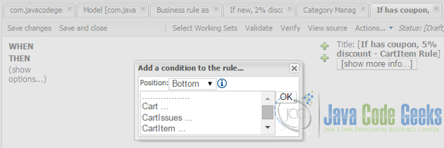 Add conditions to rule