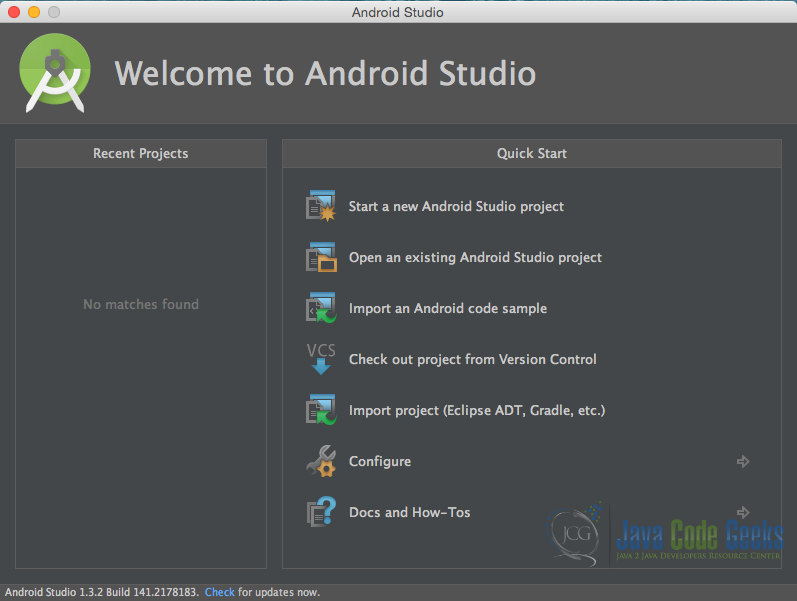 """Welcome to Android Studio"" screen. Choose ""Start a new Android Studio Project""."