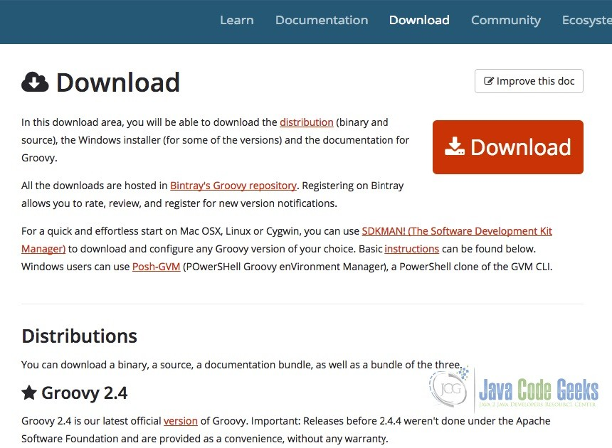 Groovy Download Page