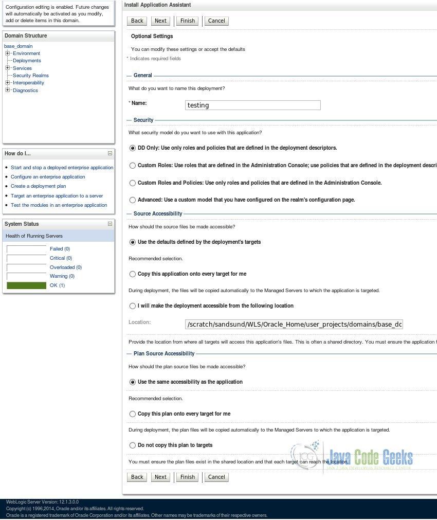 Weblogic server administration tutorial examples java code geeks name your app baditri Images
