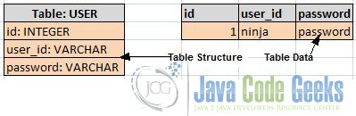 User Table and Sample Data