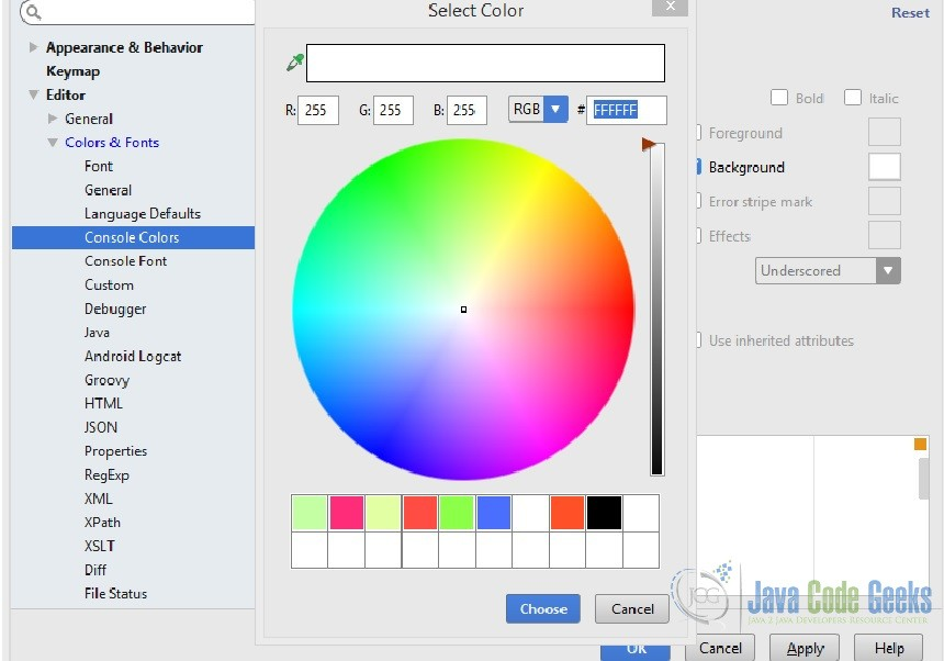 intellij idea color schemes / themes configuration | examples java