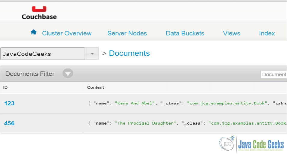Spring Data Couchbase Example | Examples Java Code Geeks - 2019