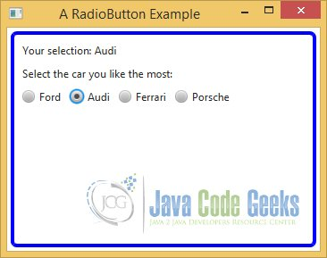 A JavaFX RadioButton Example