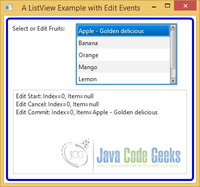 Event Handling in an editable ListView