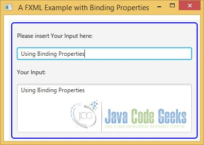 A JavaFX FXML Example with Binding Properties