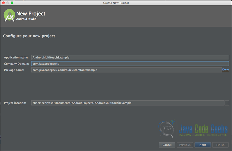 """Configure your new project"" screen. Add your application name and the projects package name."