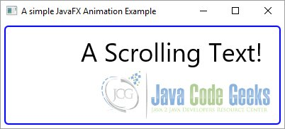 A simple JavaFX Animation Example with a scrolling Text